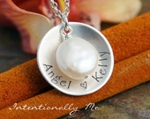Hand Stamped  Mommy Necklace - Sterling Silver Personalized Jewelry - Limited Edition Cup with Freshwater Pearl (two names)