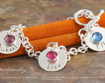 Personalized Hand Stamped Mommy Bracelet - Sterling Silver Toggle Charm Bracelet with birthstone - My three kids