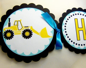 Construction Truck Birthday Banner