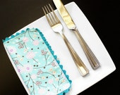 "Cloth Cocktail or Lunch Napkins, Pink and Blue Floral Blossom, Teal Trim, Reversible, Set Of 4, 8""x8"""