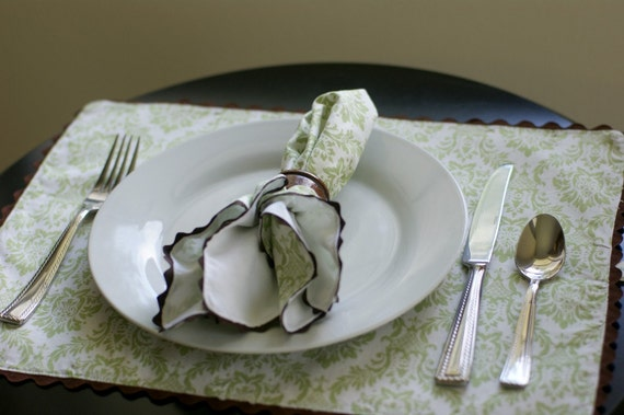 Cloth Placemats, Green and White Damask Trimmed in Brown, Set of 6