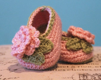 Flower and Leaf Crochet Baby Girl Booties - CUSTOM OPTIONS AVAILABLE