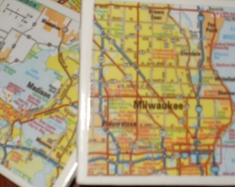 Map Coasters - Wisconsin Map Coasters...Featuring Milwaukee and Madison...Set of 4...Full Cork Bottoms NOT Felt