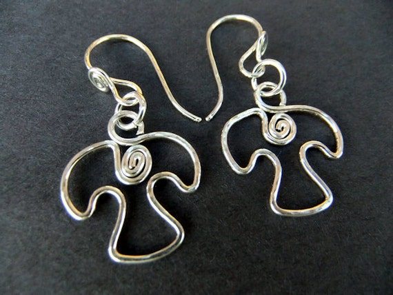 Tiny Dove Bird Charm Earrings Sterling Silver Hand Shaped Animal Flying Swirl Detail Cute Unique French Ear Wires