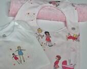 Baby Girl Gift Set, Bib, Burp Cloth, Sarah Jane Children at Play, Dolls,  Pink  Minky Dot