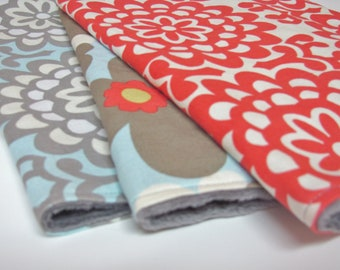 Burp Cloth Set of 3 - Amy Butler Lotus- Red, Blue, and Grey-Wall Flower and Morning Glory with Grey Minky Dot