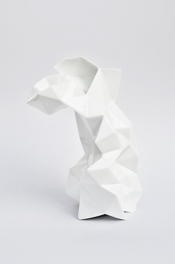 Modern geometric white porcelain Vase - contrmporary ceramic design