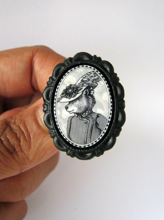 Bear in Hat Brooch - Victorian Style - Black and White Animal Portrait - Small
