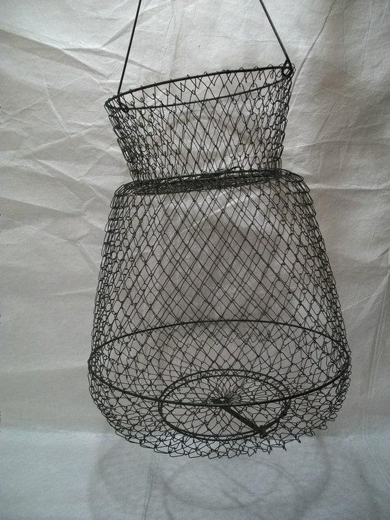 Vintage fishing basket shrimp trap wire crawfish basket for Fish wire basket