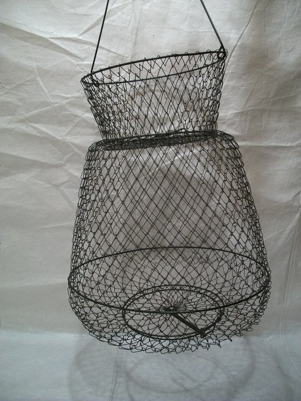 Vintage fishing basket shrimp trap wire crawfish by ginicrafts for Fish wire basket