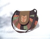 RESERVED for ANNA: Shoulder bag  unique round patchwork bag with tulip window motif in olive green brown peanut colours