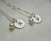 Bridesmaid Jewelry Personalized Necklace Set of 11 Bridesmaid Necklace Personalized Bridesmaid Gift Initial Necklace Pearl Monogram Necklace