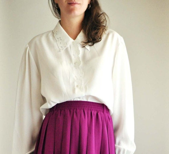 White embroidery Collar Shirt