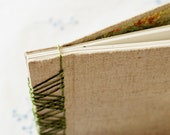 Linen and green Japanese stab-bound blank guestbook album