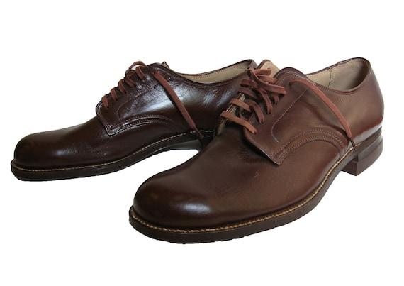 RSvD for H / Mens Vintage Shoes Early 1950s.NOS ENDICOTT JOHNSON. Brown leather 6 Eyelet Plain Front Derby.  7 C Mens Fashion