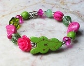 Pink and Green Bunny Rabbit Rose Moon and Heart Crystal Turquoise Chic Kawaii Jewelry Bracelet