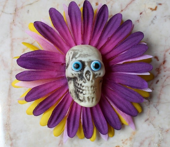 Day of the Dead Skeleton Sugar Skull Rockabilly Muertos Spooky Halloween Purple Daisy Hair Clip