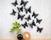 Butterfly Wall Art, Pop-up Black Butterflies, 3D Wall Decor, Set of 12 - Made in Canada