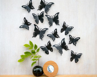 Butterfly Wall Art, Pop-up Black Butterflies, 3D Wall Decor, Set of 12 - Made in Canada