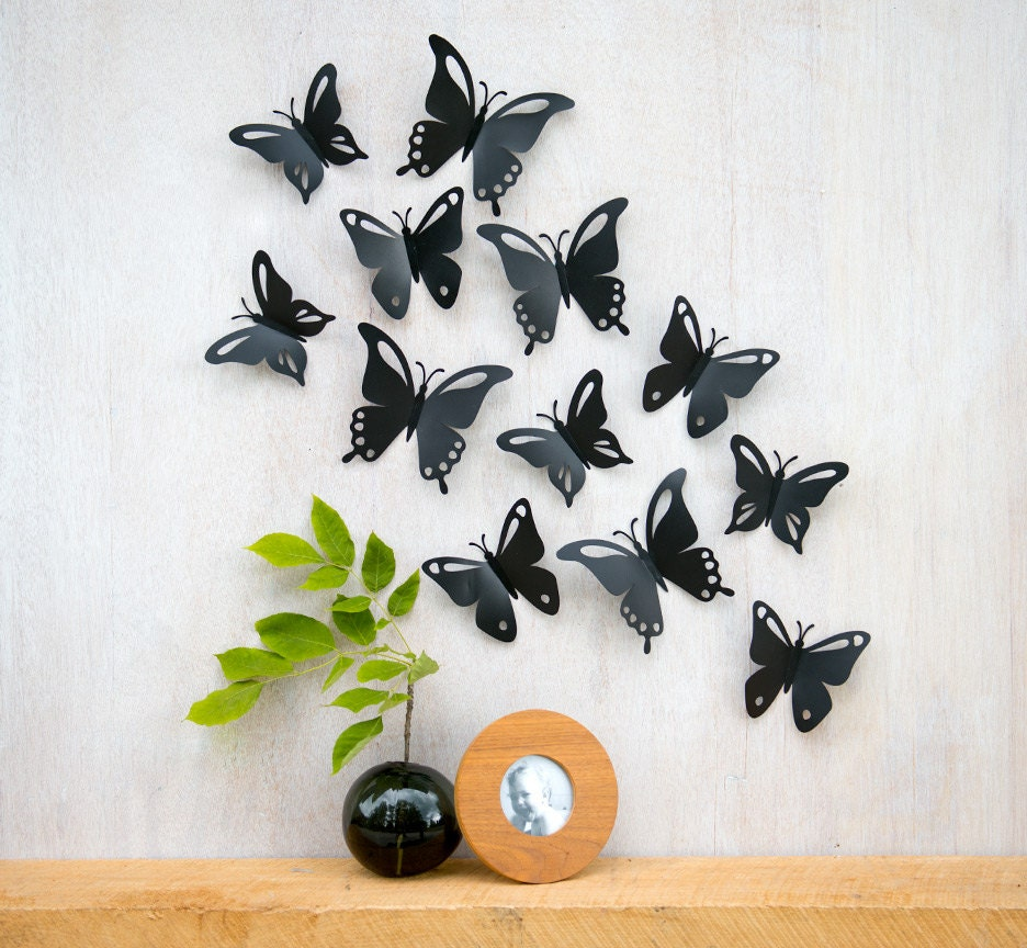Butterfly wall art pop up black butterflies 3d wall decor for Art wall decoration