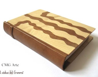 Exclusive Handmade Journal Wood and Leather Blank Book - Marquetry  - Wood Inlay