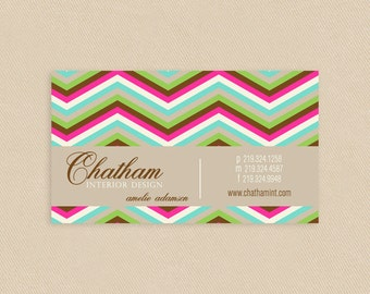 Printable Business Card Modern Chevron Pattern