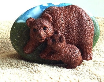 Brown Bear and Cub Glycerin Soap - Decorative Gift Soap - Lodge Style - North Woods