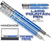 Blue lapis zen fountain pen   custom pen with case   handmade writing pen gift   present for a writer   best fountain pens   postable cap