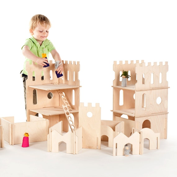 Castle Play Set with Castle Towers and Modular Building Walls // Wooden Montessori Inspired DIY Toy for A Future Architect