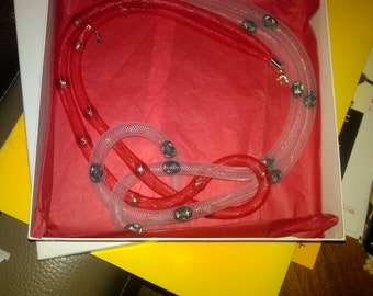 Red and White plastic tube with metal beads  necklace