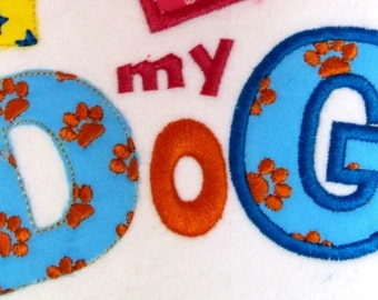 DISCOUNT -15 % Doggy Cute Font machine embroidery applique designs INSTANT DOWNLOAD - capital letters and numbers 3 and 2 inches