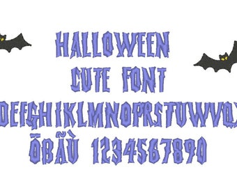 Halloween font and mini bat embroidery design - monogram machine embroidery design - capital letters and numbers in minisizes