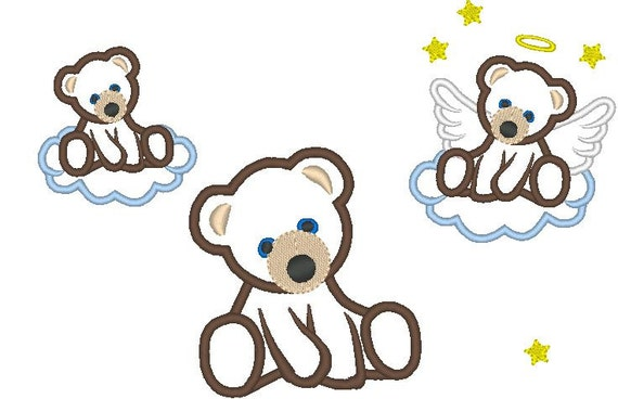 Bear, bear angel machine embroidery applique design, 4x4, 5x7 and  6x10 INSTANT DOWNLOAD