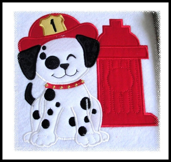 Dalmatian Puppy plain and with fire department hat and hydrant, machine applique files separately INSTANT DOWNLOAD 4x4, 5x7 and 6x10