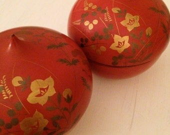 Antique Lacquered Lotus Incense Boxes