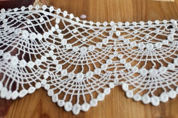Off White Cotton lace Trim Wide Wave Lace Trim 6.2 Inches Wide 2 Yards