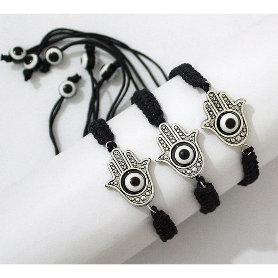 Lot 3 Hamsa Hand Evil Eye Judaica Bracelets Black String with Rotating Lucky Eye