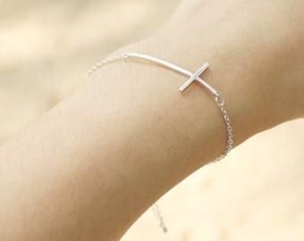 Sideways Cross Bracelet - S3268-2