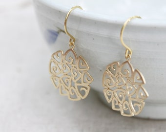 Gold filigree earrings - sterling silver ear wires - S1276