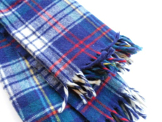 Vintage Blue Plaid Blanket, Camp or Cabin Style, Small Lap Blanket in Navy and Red Plaid, Fringed Wool