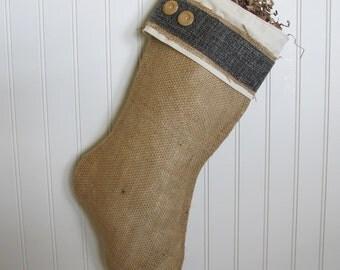 Shabby Chic Burlap Christmas Stocking in Dark Blue