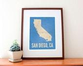 San Diego, California Map Love Print
