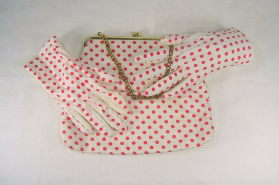 Ladies Vintage Purse Gloves Set Red White Polka Dot Luncheon Handbag Evening Bag
