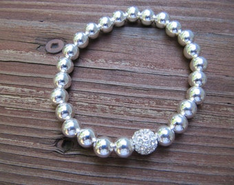 Silver Pave Bead with Silver Beads Stretch Bracelet