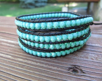 Turquoise Crystal Beaded Leather Wrap Bracelet with Black Leather