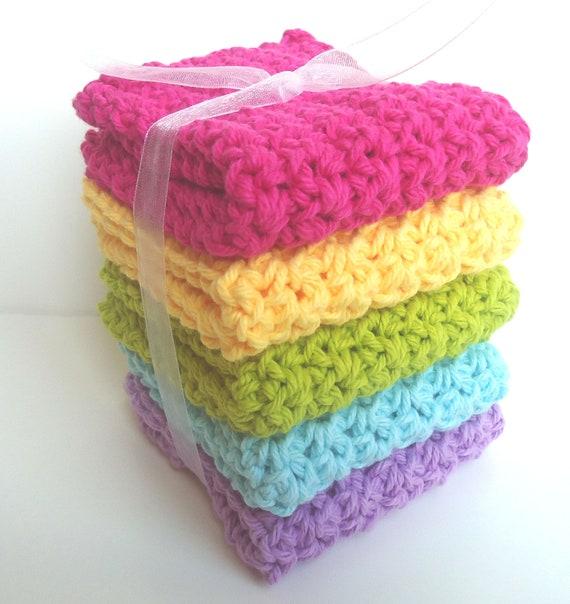 Crochet Dishcloths Washcloths - Set of 5 - Kitchen, Bathroom, Baby - Pink, Yellow, Green, Blue, Purple - 100% Cotton