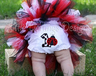 Ladybug themed Girl's First Birthday Bloomers