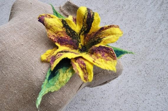 Reserved - Felted brooch , flower, brooch, glass beads, felt, nuno felt, purple, silk, green, yellow