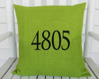 House Number Outdoor  Pillow Cover  in Lawn Green