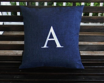 Monogrammed Outdoor Initial Pillow Cover in Indigo Blue  | Personalized | Alphabet | Embroidered | Wedding